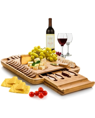 Bamboo Cheese Board and Cutlery Set with Slide-Out Drawer (Bamboo)