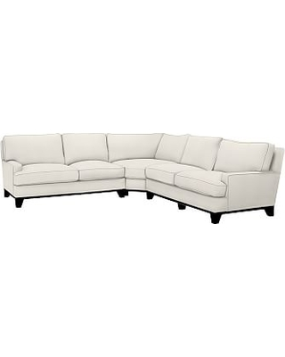 Seabury Upholstered 3-Piece L-Shaped Wedge Sectional, Down Blend Wrapped Cushions, Denim Warm White