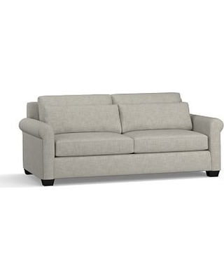 "York Roll Arm Upholstered Deep Seat Sofa 84"", Down Blend Wrapped Cushions, Premium Performance Basketweave Light Gray"