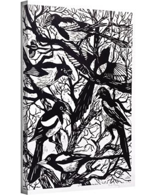 """ArtWall 'Magpies' by Nat Morley Painting Print on Wrapped Canvas animals-032 Size: 18"""" H x 24"""" W x 2"""" D"""