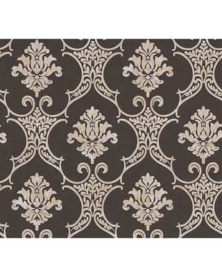 "House of Hampton Lanning Baroque Modern 33' L x 21"" W Damask Wallpaper Roll BF013755 Color: Brown"
