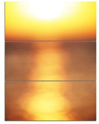 "Design Art 'AbstractSunset Reflection' 3 Piece Wall Art on Wrapped Canvas Set, Canvas & Fabric in Yellow, Size Large 33""-40"" 
