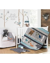 Levtex Baby - Play Day Crib Bed Set - Baby Nursery Set - Teal, Grey, Orange, Brown, Green - Woodland Animals - 5 Piece Set Includes Quilt, Fitted Sheet, Diaper Stacker, Wall Decal & Dust Ruffle