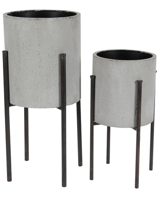 Set of 2 Modern Iron Planters with Stand - Olivia & May