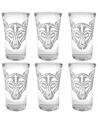 Celtic Wolf Shot Glass Set of 6 - Free Personalized Engraving
