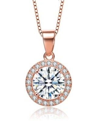 Collette Z Sterling Silver Round Cut Cubic Zirconia Pendant Necklace (Rose)
