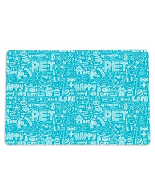 """Fun Pet Placemat for Dogs or Cats - 12"""" x 18"""" Turquoise Blue Washable Mat for your Pet Food Bowl and Water Dish - Made in the USA"""