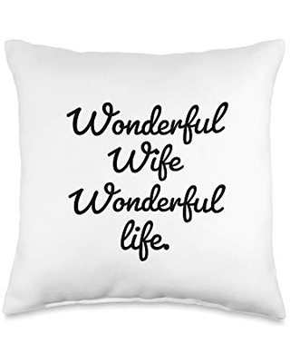 Statement Blend Wife Wonderful Life. Throw Pillow, 16x16, Multicolor