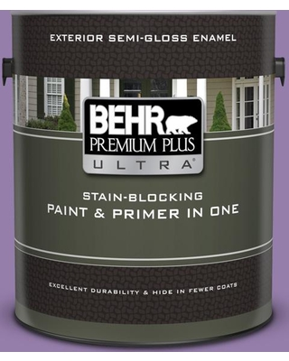 BEHR ULTRA 1 gal. #650B-6 Elite Wisteria Semi-Gloss Enamel Exterior Paint and Primer in One