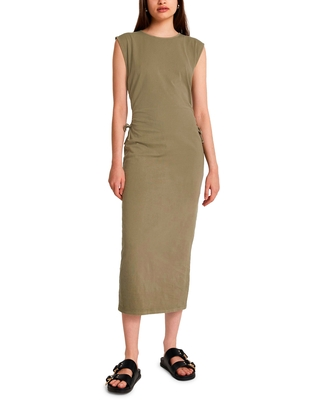 Women's River Island Side Ruched Midi Dress, Size 10 US - Green