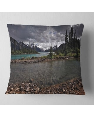 Designart 'Dark Sky over Crystal Clear Lake' Landscape Printed Throw Pillow (Square - 18 in. x 18 in. - Medium)