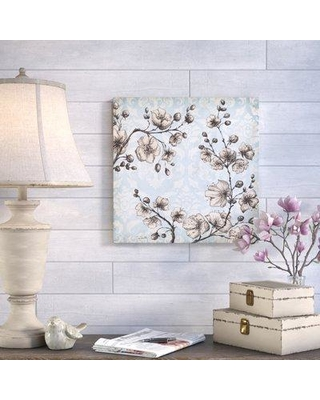 """Ophelia & Co. 'Toile Blossoms' Print on Wrapped Canvas OPCO4506 Size: 24"""" H x 24"""" W"""