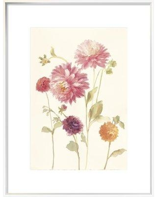 """East Urban Home Watercolor Flowers VI' Watercolor Painting Print ESUM5797 Size: 41.63"""" H x 31.63"""" W Format: White Framed"""