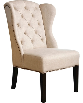 Kyrra Tufted Linen Wingback Dining Chair Wood/Cream (Ivory) - Abbyson Living