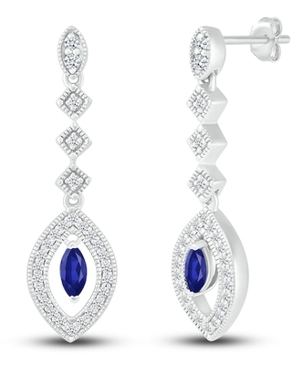 Jared The Galleria Of Jewelry Lab-Created Sapphire Earrings Sterling Silver