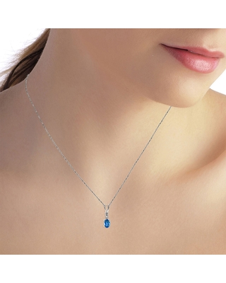 0.46 Carat 14K Solid White Gold Ball in Court Blue Topaz Diamond Necklace