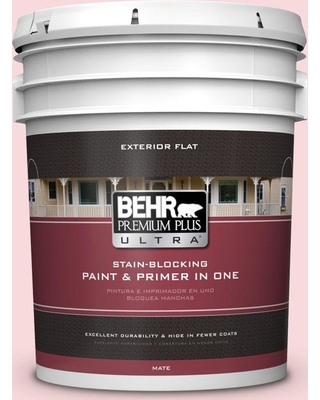 BEHR Premium Plus Ultra 5 gal. #130C-1 Powdered Blush Flat Exterior Paint and Primer in One