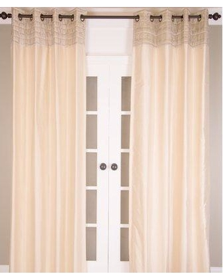 """India's Heritage Striped Semi-Sheer Grommet Single Curtain Panel P137 Curtain Color: Ivory/Taupe Size per Panel: 51"""" W x 96"""" L"""