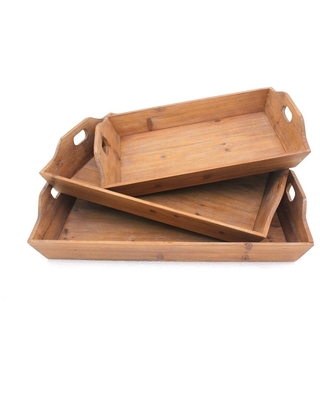 Rectangular Wooden Serving Tray with Cut Out Handles, Set of 3, Brown (Brown - 3 Piece)