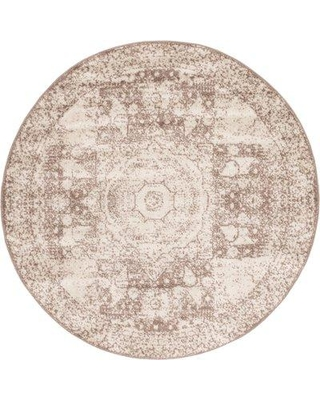 Bungalow Rose Boland Light Brown Area Rug VLHX6526 Rug Size: Round 5'
