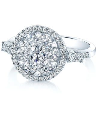 14K White Gold Round Cut Diamond (1.17 ct. t.w) Halo Engagement Ring, Size 7 (Clear - White - 7)