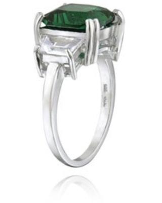 Glitzy Rocks Sterling Silver 3-stone Gemstone Solitaire Ring (May - Green - 10 - Emerald)