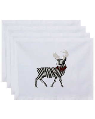 """Simply Daisy 18"""" x 14"""" Merry Deer Animal Print Placemats, Set of 4"""