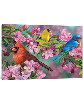 """East Urban Home 'Songbird Colors' Painting Print on Canvas EAUU1279 Size: 18"""" H x 26"""" W x 0.75"""" D"""