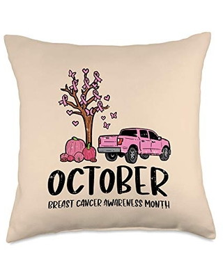 Find The Best Deals On Boredkoalas Breast Cancer Awareness Pillows Gifts Pink Ribbon Tree Truck October Pumpkin Breast Cancer Gift Throw Pillow 18x18 Multicolor