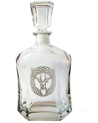 Celtic Stag Glass Whiskey Decanter 24 oz, Personalized Engraving