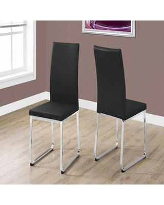 HomeRoots Jasmine Black Foam and Chrome Metal Dining Chair 2pcs