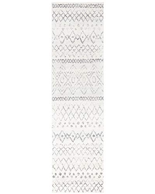 """Safavieh Madison Collection MAD798D Moroccan Boho Distressed Runner, 2' 3"""" x 8', Ivory/Charcoal"""