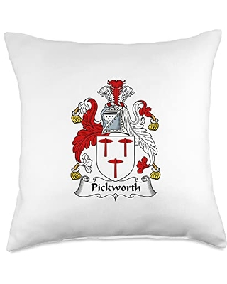 Family Crest and Coat of Arms clothes and gifts Pickworth Coat of Arms - Family Crest Throw Pillow, 18x18, Multicolor