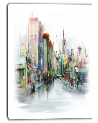 "Illustration of City Street Cityscape Painting Print on Wrapped Canvas Design Art Size: 40"" H x 30"" W"