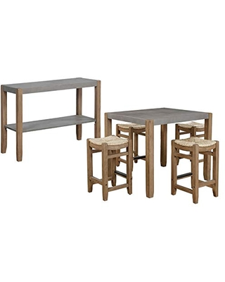 Alaterre Furniture Newport Dining Table Set, Concrete Gray