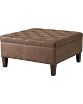 Lindsey Tufted Square Cocktail Ottoman, Brown