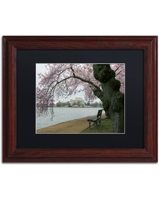 """Trademark Fine Art """"Arched Blossoms"""" Canvas Art by CATeyes, Black Matte, Wood Frame"""