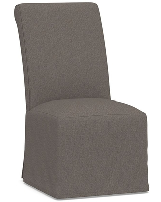 PB Comfort Roll Long Slipcovered Dining Side Chair, Espresso Frame, Performance Heathered Tweed Graphite