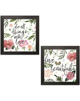 "Bungalow Rose 'Live Beautifully and Do All Things with Love' 2 Piece Textual Art Set BGLS5465 Format: Black Framed Size: 12"" H x 12"" W x 0.75"" D"
