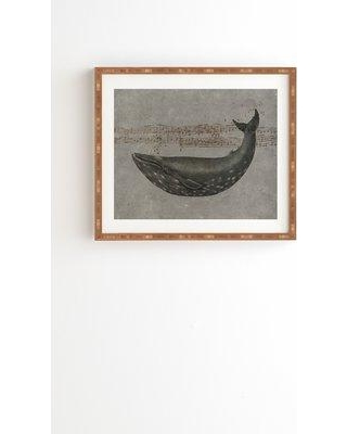 """East Urban Home 'Whale Song' Framed Graphic Art Print on Wood ERNI6087 Size: 19"""" H x 22.4"""" W x 1.5"""" D Format: Brown Framed"""