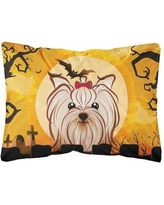 The Holiday Aisle Juanita Halloween Yorkie Yorkshire Terrier Fabric Indoor/Outdoor Throw Pillow BF148798