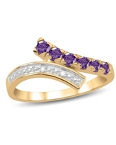 10K Yellow Gold Genuine Birthstone Ring with Diamond Accent