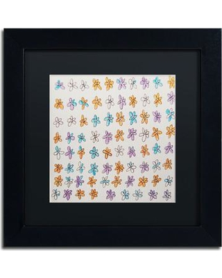 """Trademark Art 'Flower Pattern' by Nicole Dietz Framed Painting Print ND069-B1111BMF / ND069-B1616BMF Size: 11"""" H x 11"""" W"""
