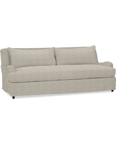 "Carlisle Slipcovered Sofa 80"" with Bench Cushion, Down Blend Wrapped Cushions, Performance Heathered Tweed Pebble"