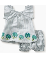 Tea Collection Floral Embroidered Baby Outfit