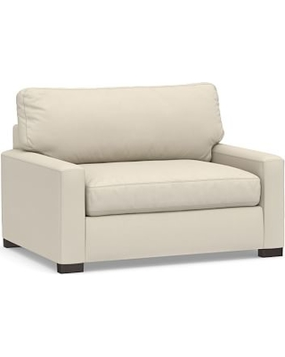 Turner Square Arm Upholstered Twin Sleeper Sofa without Nailheads, Polyester Wrapped Cushions, Performance Brushed Basketweave Ivory