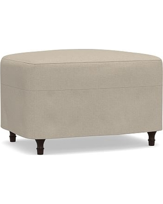 Carlisle Slipcovered Ottoman, Polyester Wrapped Cushions, Brushed Crossweave Natural