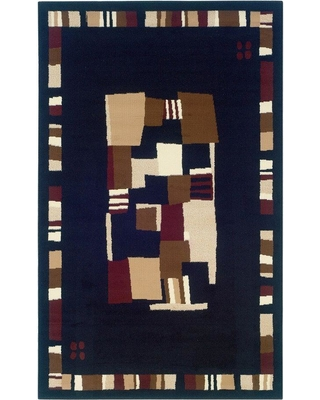 Linon Home Decor Capri Collection Black and Brown 4 ft. x 7 ft. Indoor Area Rug, Primary: Black/Secondary: Brown