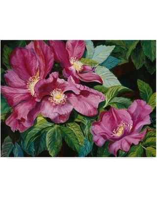 """Trademark Fine Art 'Wild Red Roses' Acrylic Painting Print on Wrapped Canvas ALI30345-CGG Size: 24"""" H x 32"""" W x 2"""" D"""