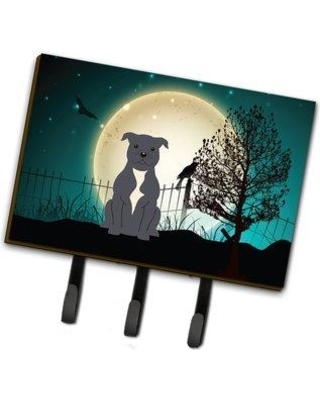 The Holiday Aisle Halloween Scary Staffordshire Bull Terrier Leash or Key Holder THDA6665 Color: Gray